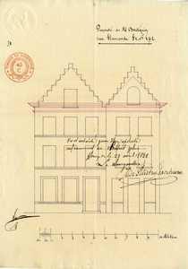 oud plan van 1848 voor de wijziging van gevels  van huisnrs. 98 en 100 - wijziging van trapgevels naar bakgoot met afgewolfd zadeldak
