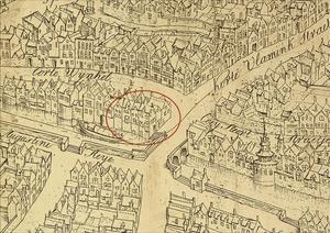 aanduiding van pand op kaart Marcus Gerard 1562